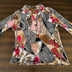 Alfani Graphic Printed 3/4 Sleeve Blouse - M